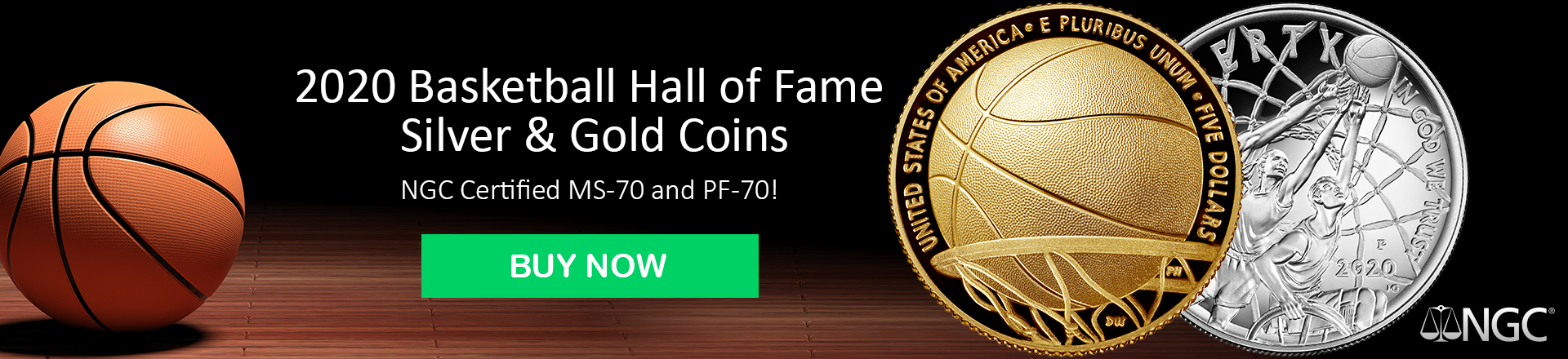 2020 Basketball Hall of Fame Gold and Silver Coins