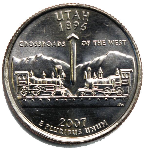 2007-S Utah Proof Statehood Quarters 40 Coin Roll Copper Nickel