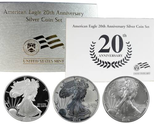 2006 American Eagle 20th Anniversary Silver Coin Set includes Reverse Nice Set
