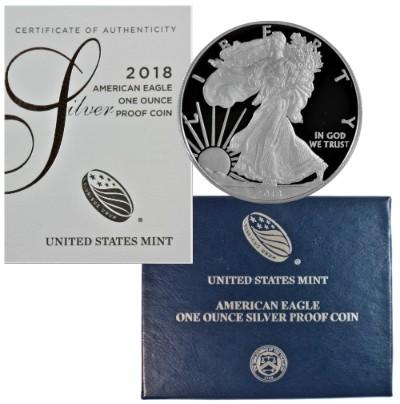 2018 W AMERICAN EAGLE SILVER DOLLAR Proof West Point Mint 1oz .999 Silver 18EA