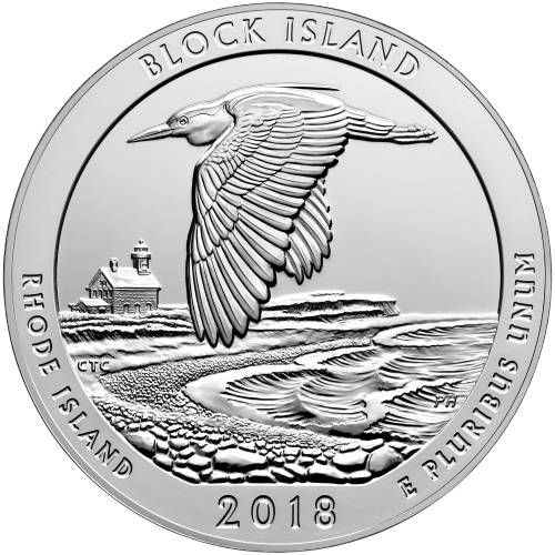 2018  P     BRILLIANT UNC    BLOCK ISLAND   RHODE ISLAND   AMERICA THE BEAUTIFUL