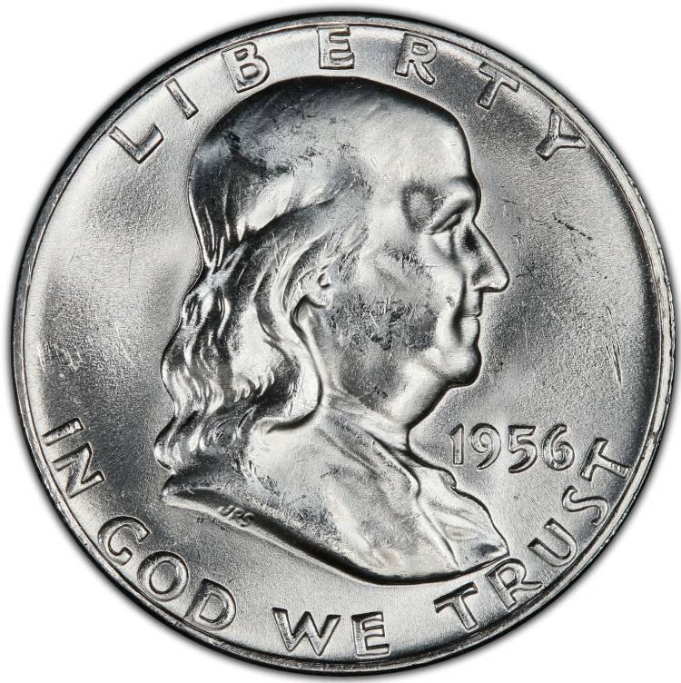 1956 Franklin Half Dollar 90/% Silver BU US Coin