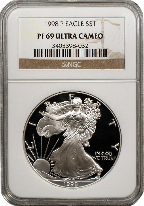 1997-P U.S Silver Eagle Proof Ultra Cameo Coin 1 oz NGC PF 69 ULTRA CAMEO