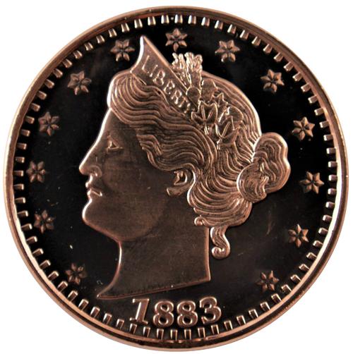 5 Coins 1 Ounce .999 Copper Round Eagle Design of Washington Quarter