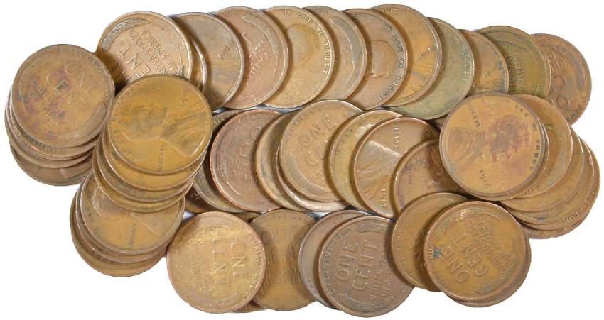 50 COINS AVERAGE CIRCULATED ROLL OF 1914-P LINCOLN CENTS GREAT PRICE!