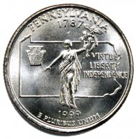1999 Pennsylvania State Quarter Coin - P or D Mint - BU