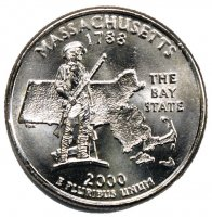 2000 Massachusetts State Quarter Coin - P or D Mint - BU