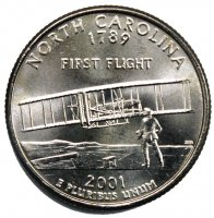2001 North Carolina State Quarter Coin - P or D Mint - BU