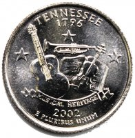 2002 Tennessee State Quarter Coin - P or D Mint - BU