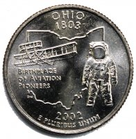 2002 Ohio State Quarter Coin - P or D Mint - BU