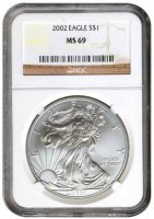 2002 1 oz American Silver Eagle Coin - NGC MS-69