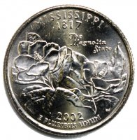 2002 Mississippi State Quarter Coin - P or D Mint - BU
