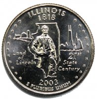 2003 Illinois State Quarter Coin - P or D Mint - BU