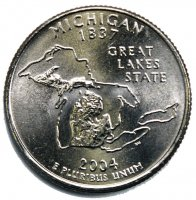 2004 Michigan State Quarter Coin - P or D Mint - BU