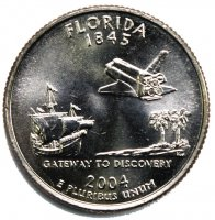 2004 Florida State Quarter Coin - P or D Mint - BU