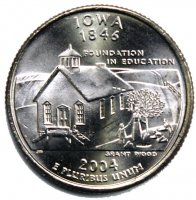 2004 Iowa State Quarter Coin - P or D Mint - BU