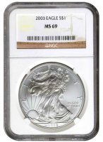 2003 1 oz American Silver Eagle Coin - NGC MS-69