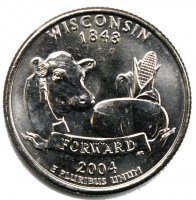 2004 Wisconsin State Quarter Coin - P or D Mint - BU