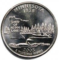 2005 Minnesota State Quarter Coin - P or D Mint - BU