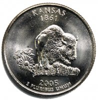 2005 Kansas State Quarter Coin - P or D Mint - BU