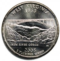 2005 West Virginia State Quarter Coin - P or D Mint - BU