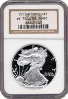 2003-W 1 oz American Proof Silver Eagle Coin - NGC PF-70 Ultra Cameo