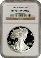 2003-W 1 oz American Proof Silver Eagle Coin - NGC PF-69 Ultra Cameo