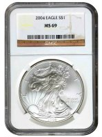 2004 1 oz American Silver Eagle Coin - NGC MS-69