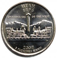 2007 Utah State Quarter Coin - P or D Mint - BU