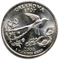 2008 Oklahoma State Quarter Coin - P or D Mint - BU