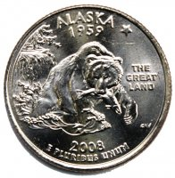 2008 Alaska State Quarter Coin - P or D Mint - BU