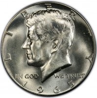 1965 SMS 40% Silver Kennedy Half Dollar Coin - Choice BU