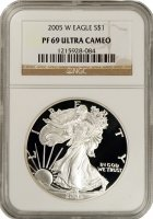 2005-W 1 oz American Proof Silver Eagle Coin - NGC PF-69 Ultra Cameo