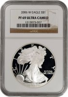 2006-W 1 oz American Proof Silver Eagle Coin - NGC PF-69 Ultra Cameo
