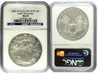 2008-W Reverse of 2007 1 oz American Burnished Silver Eagle Coin - NGC MS-69 Early Releases - Scarce!