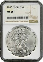 2008 1 oz American Silver Eagle Coin - NGC MS-69
