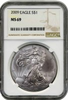 2009 1 oz American Silver Eagle Coin - NGC MS-69