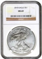 2010 1 oz American Silver Eagle Coin - NGC MS-69