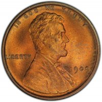1909 Lincoln Wheat Cent Coin - Choice BU (Red & Brown)