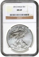 2012 1 oz American Silver Eagle Coin - NGC MS-69