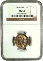 1913 Buffalo Nickel Coin - Type 1 - NGC/PCGS Certified MS-64