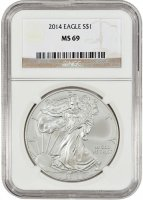 2014 1 oz American Silver Eagle Coin - NGC MS-69