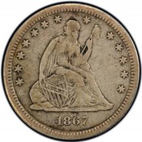 1800's Seated Liberty Silver Quarter Coin - Random Dates - Fine