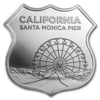 1 oz Silver - Icons of Route 66 Shield Series - California Santa Monica Pier