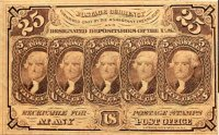 1st Issue 1862 25 Cents Fractional Currency - Civil War Era - Fine or Better