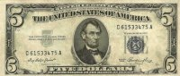 1953 $5.00 U.S. Silver Certificate Note - Blue Seal - Extremely Fine