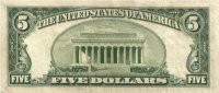1953 $5.00 U.S. Silver Certificate Note - Blue Seal - About Uncirculated