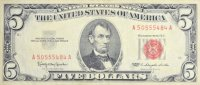 1963 $5.00 U.S. Note - Red Seal - About Uncirculated