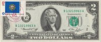 1976 $2.00 Federal Reserve Note - Postmarked 1st Day of Issue w/ 13c Stamp - Crisp Uncirculated