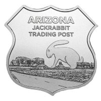 1 oz Silver - Icons of Route 66 Shield Series - Arizona Jack Rabbit Trading Post
